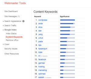 content keyword Google Webmaster Tools