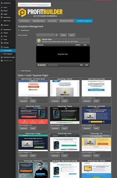 wpprofitbuilder template gallery - wordpress